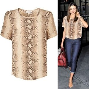 Equipment Silk Riley Snake Print Tee